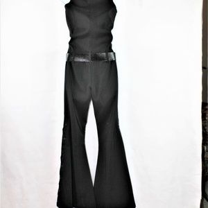 Clockhouse Pants - Clockhouse sleeveless flared, lace up leg jumpsuit